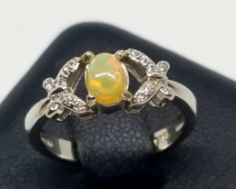 Natural Welo Opal Cabochon With Cubic Zirconia Silver Perfect Ring