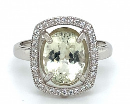 Yellow Kunzite 3.80ct White Gold Finish Solid 925 Sterling Silver Ring
