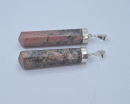130.10 CT NATURAL RHODONITE GEMSTONE PENDENT WITH SILVER