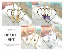 Four Lovers beautiful gemstone Heart shape earrings Set BR170