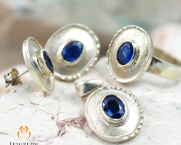 Blue Sapphire Four piece hand edge matt set, Ring size 9 WS 1206