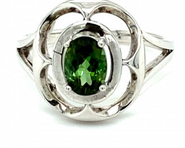 Green Tourmaline 1.02ct Rhodium Finish Solid 925 Sterling Silver Solitaire