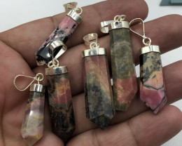 Natural Rhodonite 6 Pcs 925 Sterling Silver Pendants
