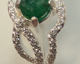 Natural Beautiful Emerald From Swat 925 Silver With Cz Ring