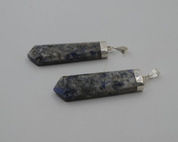 91.25 ct Natural K2 Nite Blu dats Pendants with Silver T