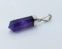 AMETHYST NATURAL STONE WITH 925 SILVER PENDANT R#48