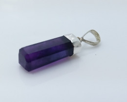 AMETHYST NATURAL STONE WITH 925 SILVER PENDANT R#49