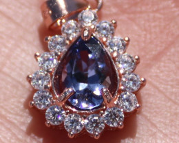 Tanzanite 1.00ct Rose Gold Finish Solid 925 Sterling Silver Pendant