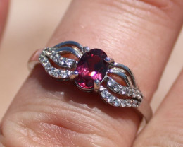Umbalite Garnet .65ct Rhodium Finish Solid 925 Sterling Silver Ring