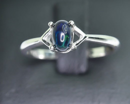 8.04 Crt Natural Opal 925 Silver Rhodium Plated Ring