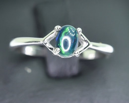 7.70 Crt Natural Opal 925 Silver Rhodium Plated Ring