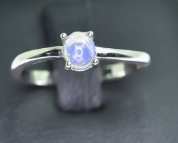 8.22 Crt Natural Opal 925 Silver Rhodium Plated Ring