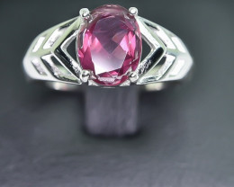 16.06 Crt Natural Garnet 925 Silver Rhodium Plated Ring