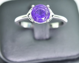 10.94 Crt Natural Amethyst 925 Silver Rhodium Plated Ring