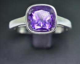 13.73 Crt Natural Amethyst 925 Silver Rhodium Plated Ring