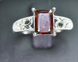 11.49 Crt Natural Garnet 925 Silver Rhodium Plated Ring