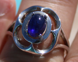 Blue Sapphire 1.86ct Rhodium Finish Solid 925 Sterling Silver Ring