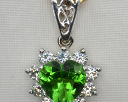 Created Moldavite, CZ  and Silver Pendant