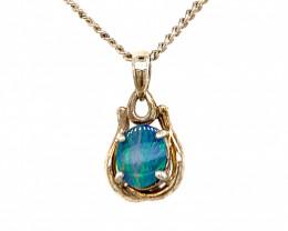 Australian inlay Opal Silver Pendant OPJ 2368