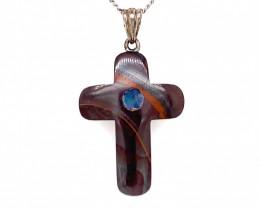 Australian Boulder Opal Silver Pendant OPJ 2377