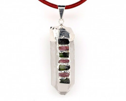 Terminated Point Crystal 7 Chakra Pendant OPJ 2388