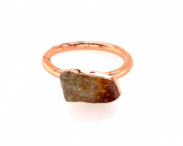 Raw Beautiful terminated Citrine Copper Ring OPJ 2391