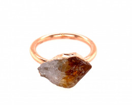 Raw Beautiful terminated Citrine Copper Ring OPJ 2392