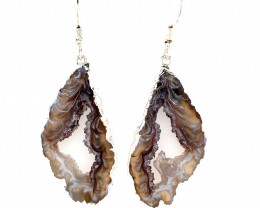 Attractive Druzy earrings silver , Sheppard hooks BR 236