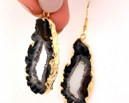Attractive Druzy earrings gold ,Sheppard hooks BR 242