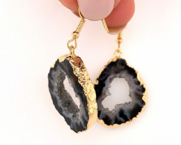 Attractive Druzy earrings gold ,Sheppard hooks BR 243