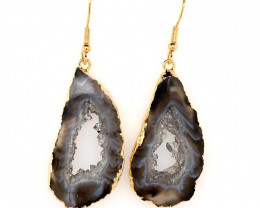 Attractive Druzy earrings gold ,Sheppard hooks BR 245