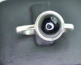 11.79 Crt Natural Black Onyx 925 Silver Ring