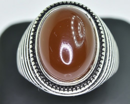 48.88 Crt Natural Red Agate 925 Silver Ring