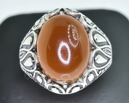 40.57 Crt Natural Red Agate 925 Silver Ring