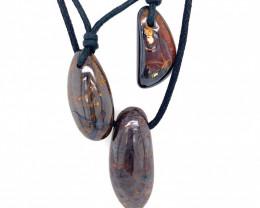 Three Boulder opal Pendants on necklace   OPJ 2394