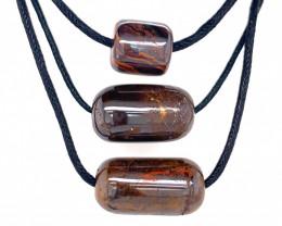 Three Boulder opal Pendants on necklace   OPJ 2396