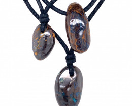 Three Boulder opal Pendants on necklace   OPJ 2397