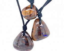 Three Boulder  ironstone opal Pendants on necklace   OPJ 2398