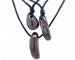 Three Boulder opal Pendants on necklace   OPJ 2399