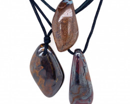 Three Boulder opal Pendants on necklace   OPJ 2400