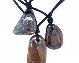 Three Boulder opal Pendants on necklace OPJ 2401
