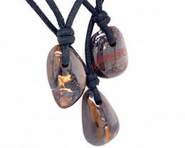 Three Boulder opal Pendants on necklace OPJ 2402