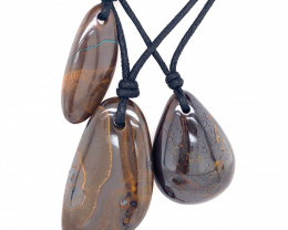 Three Boulder opal Pendants on necklace OPJ 2404