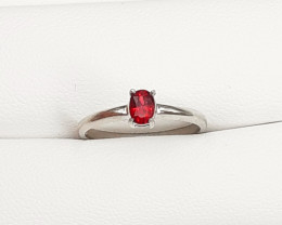 Hot Red Color Flowless Spinel Ring 925 Silver.