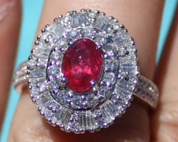 Winza Ruby 1.50ct Natural Diamonds 2.00ct Solid 950 Platinum Cocktail Ring,