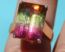 Watermelon Tourmaline 13.15ct Solid 18K Yellow Gold Solitaire Ring