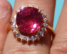 Certified Pink Tourmaline 6.95ct Diamonds Solid 22K Yellow Gold Cocktail Ri