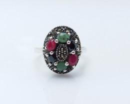 RUBY EMERALD SAPPHIRE MIXED 925 SILVER RING L#22