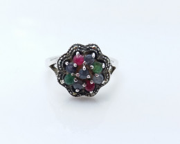 RUBY EMERALD SAPPHIRE MIXED 925 SILVER RING L#24