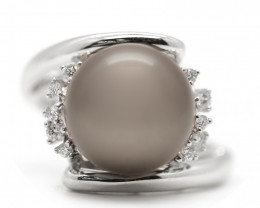 18k South Pacific Salt Black Pearl Ring [JR05]